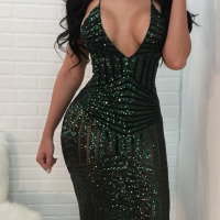 Sexy V Neck Back Lace-up Hollow-out Green Polyester Knee Length Dress
