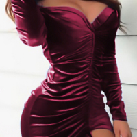 Sexy V Neck Backless Fold Design Purplish Red Velvet Mini Dress
