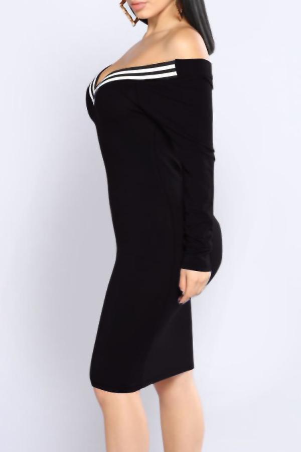 Sexy V Neck Cap Sleeves Striped Black Polyester  Knee Length Dress