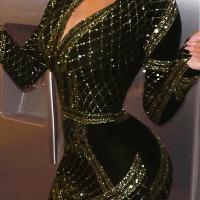 Sexy V Neck Hot Stamping Craft Gold Velvet Sheath Mini Dress