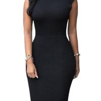 Trendy Turtleneck Tank Sleeveless Falbala Design Black Polyester Sheath Knee Length Dress