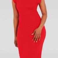 Trendy Turtleneck Tank Sleeveless Falbala Design Red Polyester Sheath Knee Length Dress