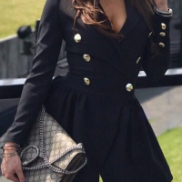 Trendy V Neck Double-breasted Design Black Linen Mini Dress
