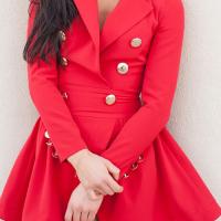 Trendy V Neck Double-breasted Design Red Linen Mini Dress