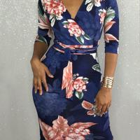 Trendy V Neck Floral Print  Polyester Sheath Knee Length Dress