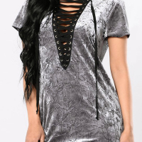 Trendy V Neck Lace-up Hollow-out Grey Velvet Sheath Mini Dress
