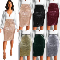 Best selling sexy European and American sequins Slim with lining bag hip skirt #94960