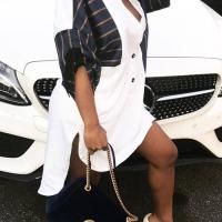 Casual V Neck Asymmetrical Black+White Cotton Blend Knee Length Dress