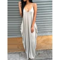 Casual V Neck Grey Blending Floor Length Dress