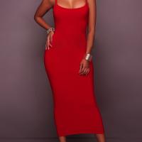 Euramerican Sleeveless Red Cotton Blend Sheath Mid Calf Dress