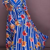 Euramerican V Neck Half Sleeves Floral Print Cotton Blend Ankle Length Dress