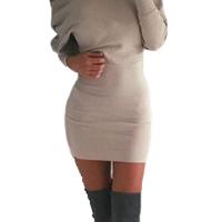 Fashion Bateau Neck Long Sleeves Khaki Cotton Blend Sheath Mini Dress