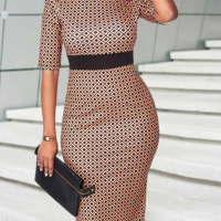 Fashion Round Neck Half Sleeves Printed Patchwork Coffee Spandex Sheath Mid Calf Dress