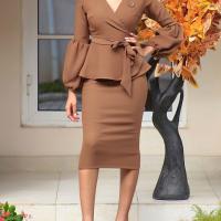 Fashion V Neck  Long Sleeves Yellow Polyester Sheath Mid Calf Dress
