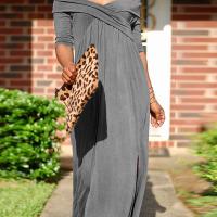 Leisure Dew Shoulder Grey Cotton Blend Ankle Length Dress