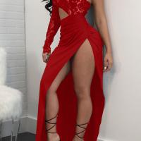 Sexy Dew Shoulder High Split Red Polyester Sheath Ankle Length Dress