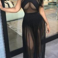 Sexy Round Neck See-Through Black Milk Fiber Floor length Dress