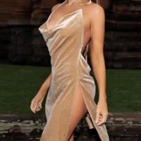 Sexy V Neck Side Split Khaki Velvet Sheath Knee Length Dress