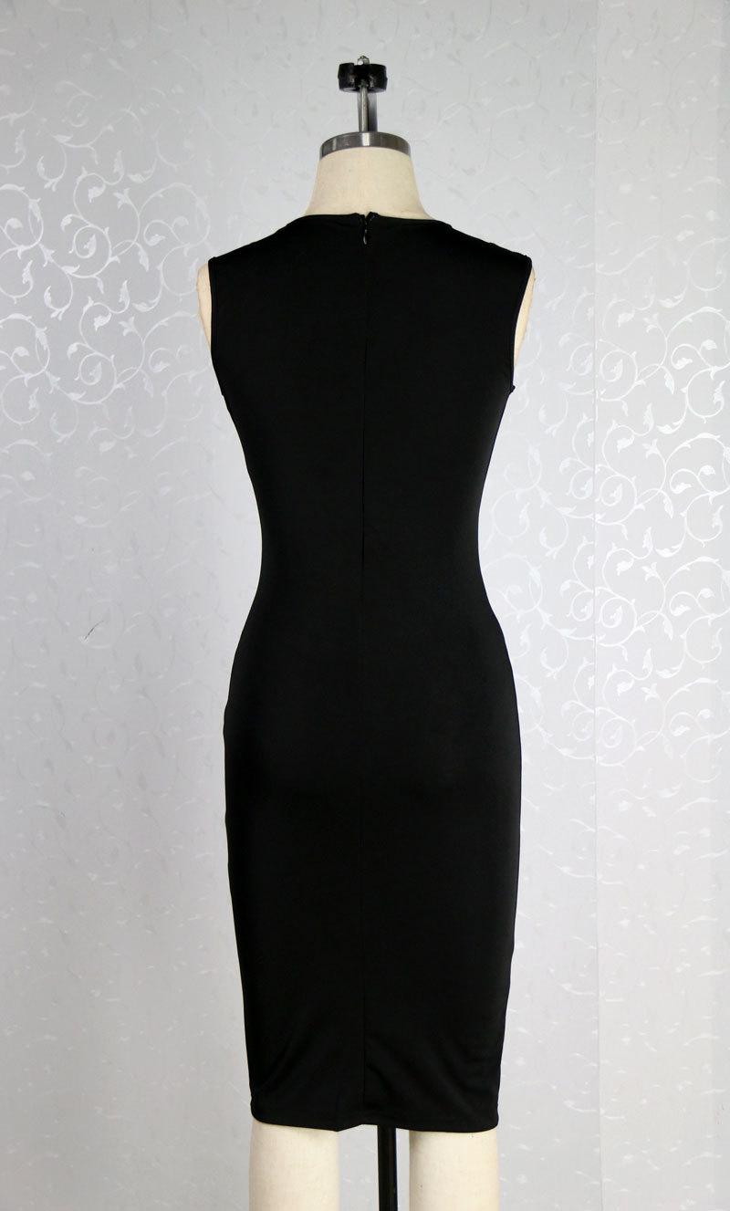 Sexy V Neck Tank Sleeveless Front Lace-up Hollow-out Side Split Black Cotton Blend Sheath Mini Dress