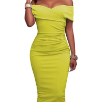 Trendy Dew Shoulder Yellow Cotton Sheath Knee Length Dress (Without Accessories)