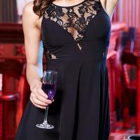 Trendy Round Neck Lace Patchwork Black Polyester Mini Dress
