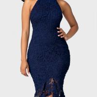 Trendy Round Neck Lace Trim Patchwork Blue Sheath Mid Calf Dress