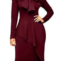 Trendy Turtleneck Bow-Tie Design Wine Red Polyester Sheath Knee Length Dress