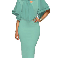 Trendy V Neck Half Sleeves Bow-tie Decoration Green Cotton Sheath Knee Length Dress
