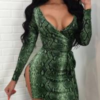 Trendy V Neck Long Sleeves Snakeskin Printing Green Milk Fiber Sheath Mini Dress