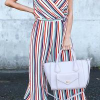 Color Striped Wide Leg Romper
