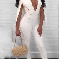 Euramerican Deep V Neck Cloak Design White Polyester One-piece Jumpsuits