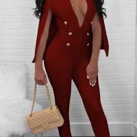 Euramerican Deep V Neck Cloak Design Wine Red Polyester One-piece Jumpsuits