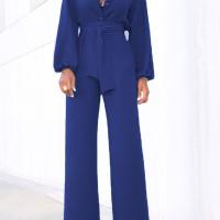 Euramerican Mandarin Collar Blue Spandex One-piece Jumpsuits
