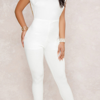 Sexy Round Neck Backless Chain Of Pearls Decoration White Terylene+Cotton One-piece Jumpsuits