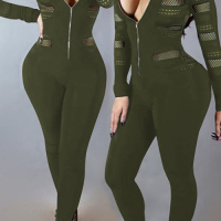 Sexy Round Neck Long Sleeves Gauze Patchwork Army Green Polyester One-piece Skinny Jumpsuits
