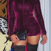 Sexy Round Neck Wine Red Velvet One-piece Jumpsuits