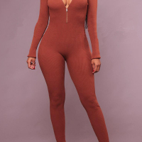Spandex Solid Regular Jumpsuits