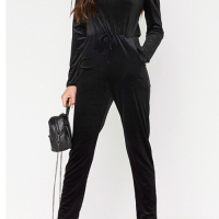 Stylish Dew Shoulder High Waist Black Velvet One-piece Jumpsuits