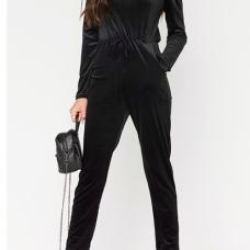 Stylish Dew Shoulder High Waist Black Velvet One-piece Jumpsuits