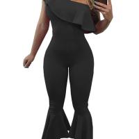 Trendy Dew Shoulder Falbala Design Black Polyester One-piece Jumpsuits