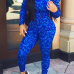 Fashion Casual Print Blue Polyester Skinny Jumpsuits Two-pieces Set