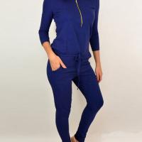 Leisure Round Neck Zipper Design Blue Cotton Blends One-piece Jumpsuits