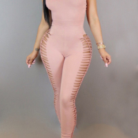 Sexy Round Neck Side Hollow-out Pink Blending One-piece Jumpsuits(Without Necklace)