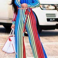 Stylish V Neck Striped Polyester One-piece Jumpsuits