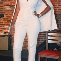 Stylish V Neck White Twilled One-piece Jumpsuits