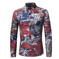 Fashion Turndown Collar Long Sleeves Leaf Printed Navy Blue Cotton Shirts(Non Positioning Printing)