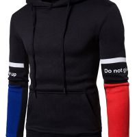Fashionable Hooded Collar Patchwork Black Cotton Blends Hoodies