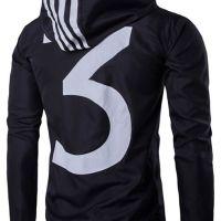 Stylish Zipper Design Printed Black Cotton Coat