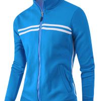 Euramerican Mandarin Collar Long Sleeves Zipper Design Blue Cotton Blends Coat