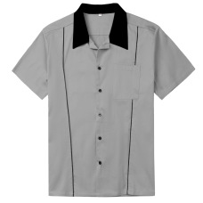 Amazon hot style loose single-breasted lapel mint green men's shirt #94948